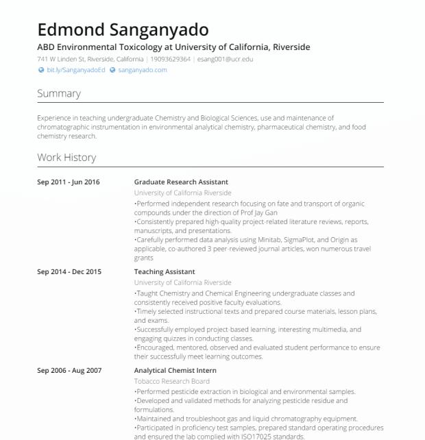 Edmond Sanganyado   ABD Environmental Toxicology at University of California  Riverside   VisualCV